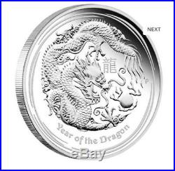 2012 Year of the Dragon 5 oz Silver Proof Coin Lunar Series II Perth Mint