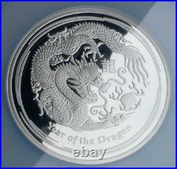 2012 Year of the Dragon 5oz. 999 Fine Silver NGC PF 70 U-Cam Australia $8 Coin