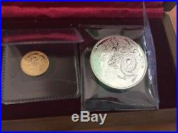 2012 Year of the Dragon Coin Silver Coin Gold Coin Box Certificate