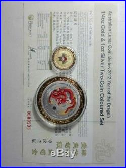 2012 australia colour dragon 1/4oz gold with 1oz SILVER COIN set