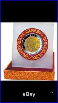 2012 fiji mother pearl 5oz dragon silver coin no coa