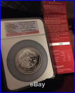 2012P Australia 5 Oz Silver $8 Year Of The Dragon 1st Releases PF70 UC With COA