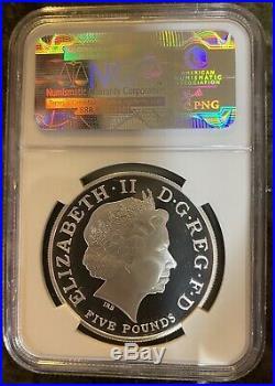 2013 Great Britain 1 Oz Silver 5 Pound St George Dragon Pf70 Ngc