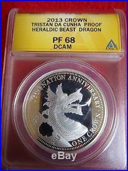 2013 Queens Beast Dragon Heraldic Beasts Tristan Da Cunha. 999 silver ANACS PF68