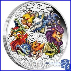 2015 $5 Dragon and His Nine Sons 5oz Silver Proof Coloured Coin