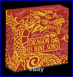 2015 $5 Tuvalu Dragon and his Nine Sons 5oz Silver Pr Coloured Coin