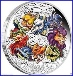 2015 $5 Tuvalu Dragon and his Nine Sons 5oz Silver Pr Coloured Coin-Perth Mint