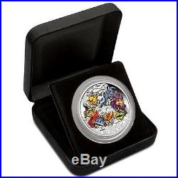 2015 5oz Pure Silver Proof Dragon & His 9 Sons Colorizedtuvalu $398.88
