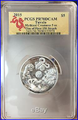 2015 Australia Tuvalu Mythical Creatures 5oz Dragon Silver Coin PCGS PR70 F. S