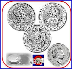 2016 & 2017 Queen's Beast Lion, Griffin & Dragon Silver Coins with Screw Capsules