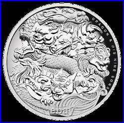 2016 Dragon & His Nine Sons 5oz Silver Proof High Relief Coin