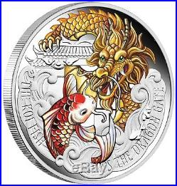 2016 The Koi Jumps the Dragon Gate 5oz Coloured Silver Proof Coin