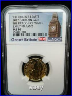 2017 1/4 oz. 999 Gold Great Britain Queens Beasts Dragon of Wales ER MS 70