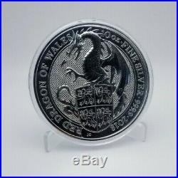 2017 10 oz Silver UK Queen's Beast Red Dragon Of Wales In original Capsule. RARE
