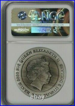 2017 $2 Dragon 2oz Silver Antiqued Coin by Perth Mint NGC Graded PF70