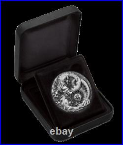 2017 $2 Dragon 2oz Silver Antiqued High Relief Coin by Perth Mint ONLY 1,000