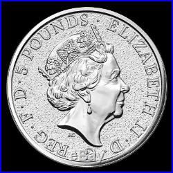 2017 2 oz Queen's Beast Red Dragon of Wales 999.9 Fine Silver BU Coin from Roll