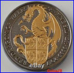 2017 2oz Royal Mint Queen's Beasts Dragon. 999 Silver Gold Gilded & Ruthenium