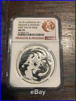 2017 Australia Dragon And Phoenix MS 70 First Day Of Issue Silver Coin