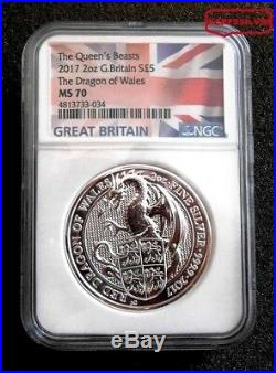 2017 Britain's Queen Beast 2 Oz. Silver Dragon Of Wales Flag Label Ngc Ms 70