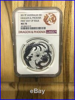2017 Dragon And Phoenix 1 oz 9999 Pure Silver NGC MS 70 First Day Of Issue