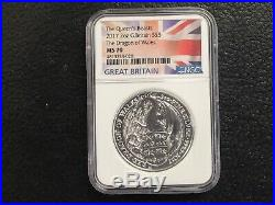 2017 Great Britain 2 Oz Queen's Beast Dragon Of Wales Ngc Ms 70 Flag Label