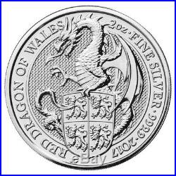 2017 Great Britain 2 oz Silver Queen's Beasts The Red Dragon Full Roll 20 10