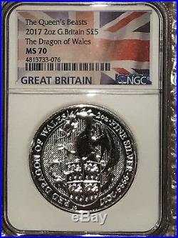 2017 Great Britain 2oz Silver Queen's Beasts Red Dragon NGC MS70 Flag Label #076