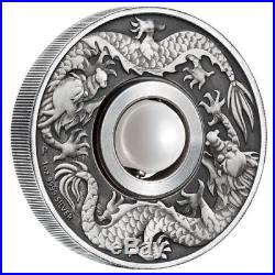 2017 P Tuvalu Dragon & Pearl ANTIQUED 1oz Silver $1 COIN NGC MS 70 FR