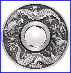 2017 P Tuvalu Dragon & Pearl ANTIQUED 1oz Silver $1 COIN NGC MS 70 FR BOXandCOA