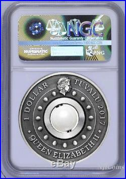 2017 P Tuvalu Dragon & Pearl ANTIQUED 1oz Silver $1 COIN NGC MS70 ER