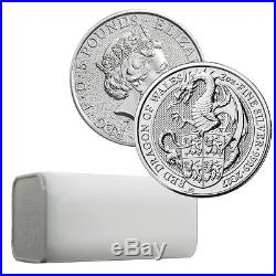 2017 Queen's Beast Dragon 2 oz Silver Coin Royal Mint Sealed Mint Tube of 10