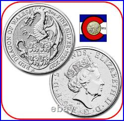 2017 Queen's Beast Red Dragon of Wales 2 oz Silver Coin in direct fit capsule