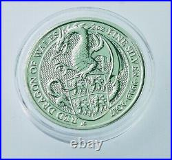 2017 Queen's Beast Red Dragon of Wales 2 oz Silver Coin in direct fit capsule-BU