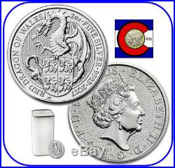 2017 Queen's Beast Red Dragon of Wales 2 oz Silver UK Coin - 10 Coin Roll/Tube