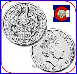 2017 Queen's Beast Red Dragon of Wales 2 oz Silver UK Coin in direct fit capsule