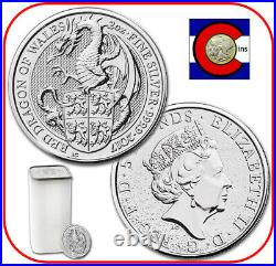 2017 Queen's Beast Red Dragon of Wales 2 oz Silver UK - tube/roll of 10 coins