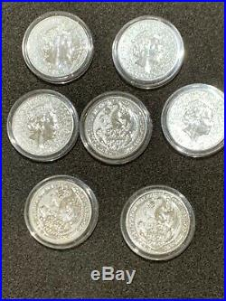 2017 Queens Beasts Red Dragon 2 oz Silver BU Coins In Capsules Lot of 7 coins