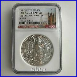 2017 U. K. £5 Silver Queen's Beasts Red Dragon of Wales 2 Oz NGC MS69 Tower Label