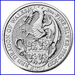 2017 U. K. £5 Silver Queen's Beasts Red Dragon of Wales 2oz. 9999 BU