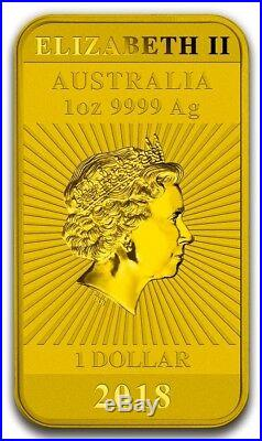2018 1 Oz Silver $1 AUSTRALIAN DRAGON Coin WITH 24K GOLD GILDED