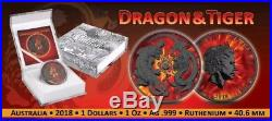 2018 1 Oz Silver Australia $2 BURNING DRAGON & TIGER Ruthenium Coin