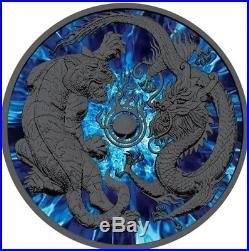 2018 1 Oz Silver Australia $2 DRAGON & TIGER Ruthenium Coin