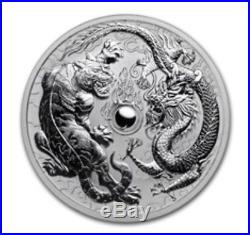 2018 1 oz Australian Dragon and Tiger Silver Coin BU Frosted Roll Of Twenty