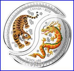 2018 $10 FINE SILVER YIN AND YANG COINS TIGER AND DRAGON 99.99% No. 161488