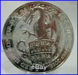 2018 10 oz FINE SILVER QUEENS BEAST RED DRAGON OF WALES