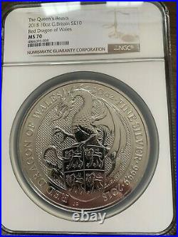 2018 10oz Queens Beasts Red Dragon of Wales NGC MS70