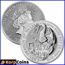 2018 10oz Queens Beasts Welsh Dragon 10 ounce Silver Bullion Coin unc
