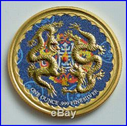 2018 1oz. 999 Double Dragon Niue Colorized and Gold Gilded Silver Coin
