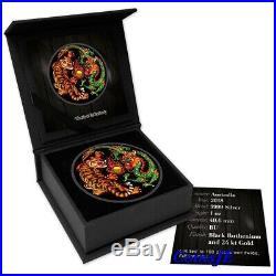 2018 1oz. 9999 $1 AUD Australian Silver Dragon & Tiger Colorized Ruthenium Coin